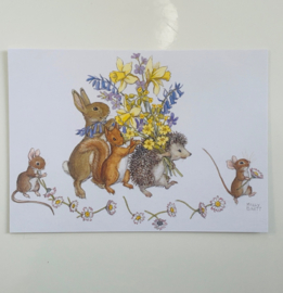Molly Brett Rabbit, Squirrel, Hedgehog with a bouquet of spring flowers