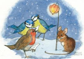 Molly Brett kaart 'Robin and Blue Tits Sing Carols'