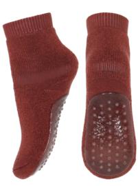 MP Denmark wool/cotton socks with anti-slip dark brick