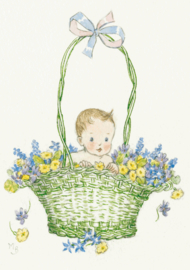 Molly Brett kaart Baby in a green basket