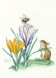 Molly Brett kaart A bee sits atop a flower