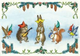 Molly Brett kaart 'Hedgehog, rabbit & squirrel playing instruments'