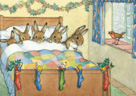 Molly Brett kaart 'Five Rabbits Tucked Up Warm'