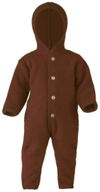 Engel Hooded overall with wooden buttons, with cuffs to close at the arms and the legs, fleece cinnamon