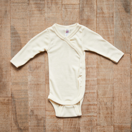 Engel Baby-body long sleeved, with press-studs on the side, fine rib natural