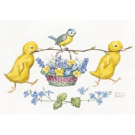 Molly Brett two ducklings and blue tit with basket of flowers