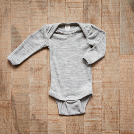 Engel romper Baby-body long sleeved, fine rib light grey mélange