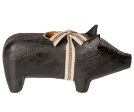 Maileg Wooden pig, Medium - Black