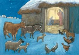 Molly Brett kaart 'Animals Nativity Scene'