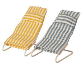 Maileg Strandstoelset muis - geel/blauw