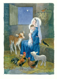 Molly Brett kaart 'Madonna and Child in stable with calf, lamb, hens and robin''