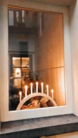 Kerst boog verlichting van hout met zeven kaarslampjes