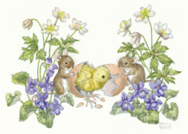 Molly Brett kaart Two mice with chick hatching from egg
