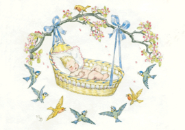 Molly Brett kaart A Baby in a Basket