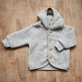 Engel wool fleece hooded jacket light grey mélange