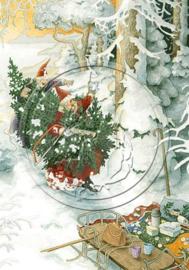 Inge Löök kaart 'Kerstmannen met Kerstboom'