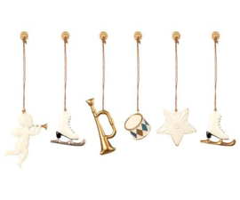 Maileg METAL ORNAMENTS IN BOX, 6 ASS. - WHITE/GOLD