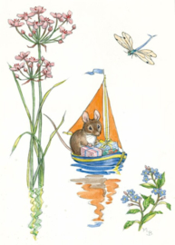 Molly Brett kaart a mouse with presents in a sailboat