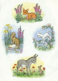 Molly Brett kaart Fawn, otter, Lamb and donkey