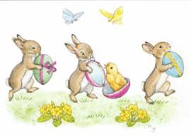 Molly Brett kaart Rabbits with Easter eggs