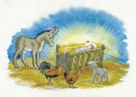 Molly Brett kaart 'Donkey, lamb, cock & hen around Jesus in crib'