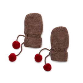 Konges Slojd miro knit mittens  brown melange
