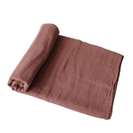 Mushie Muslin Swaddle Blanket Organic Cotton (Cognac)