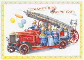 Audrey Tarrant kaart fire Engine with squirrel firemen