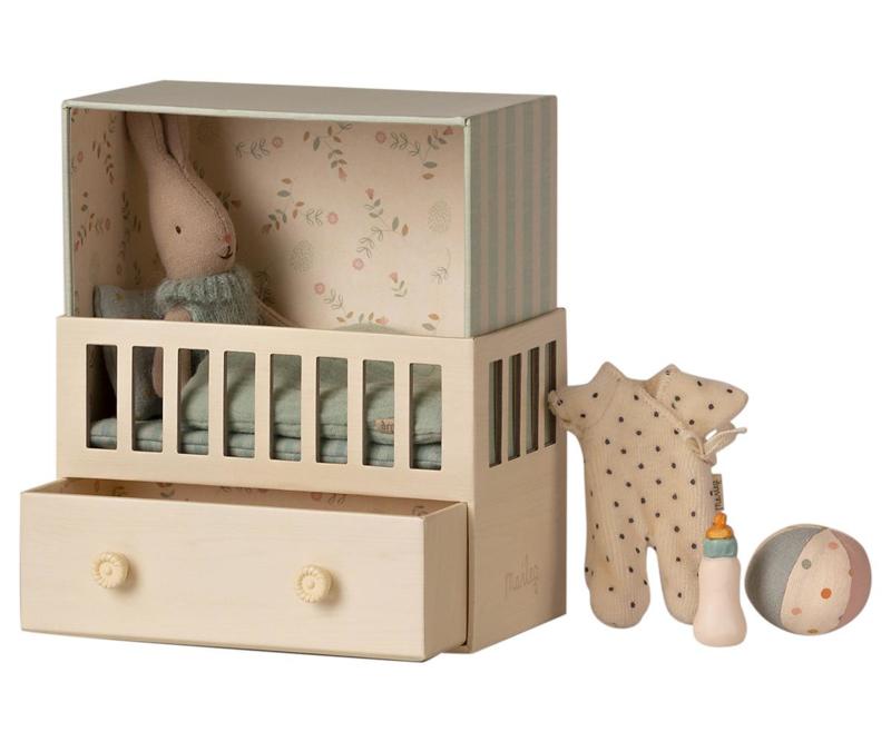 Maileg Babykamer met micro konijn - blauw