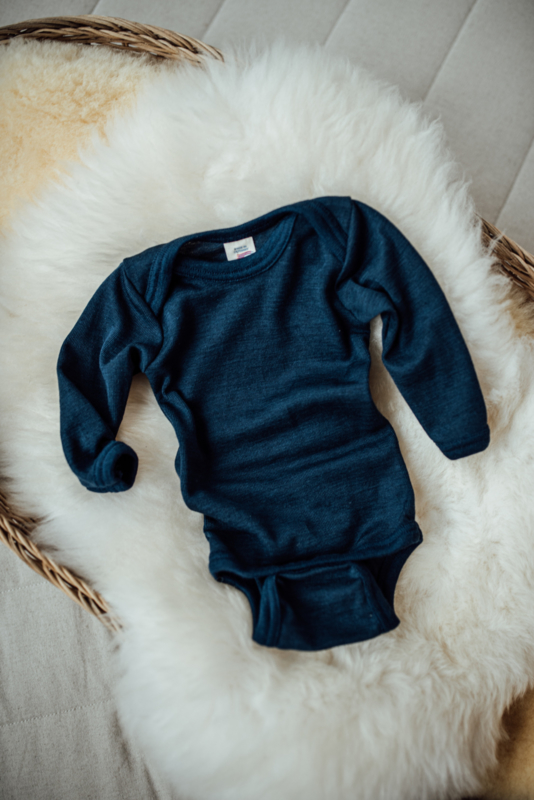 Engel romper Baby-body long sleeved, fine rib navy blue