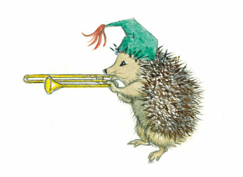 Molly Brett kaart Hedghog blowing a trombone