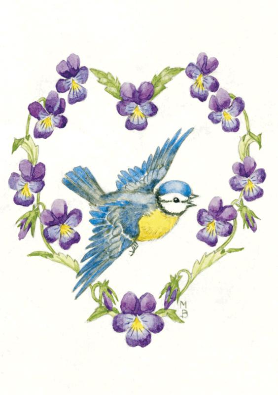 Molly Brett kaart blue tit and violas