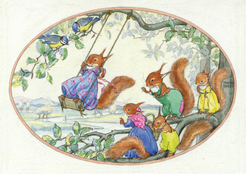 Molly Brett kaart squirrels playing on a swing