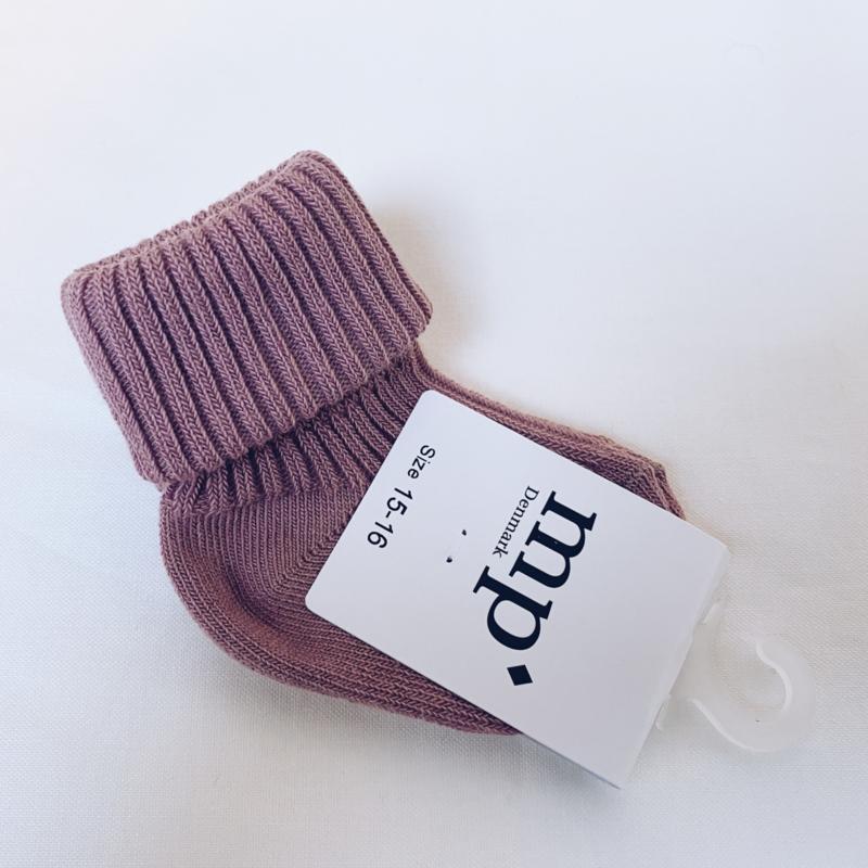 MP Denmark - Cotton rib baby socks - Donker roze