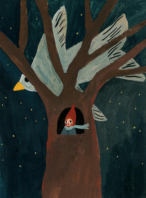 GNOME IN A TREE PRINT 14.5 X 20 CM
