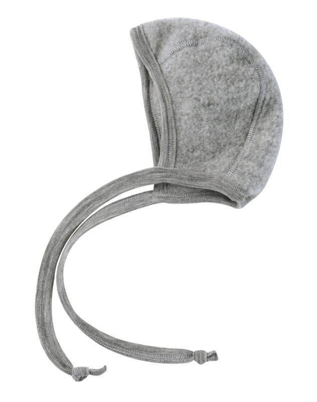 Engel baby-bonnet wool fleece light grey mélange