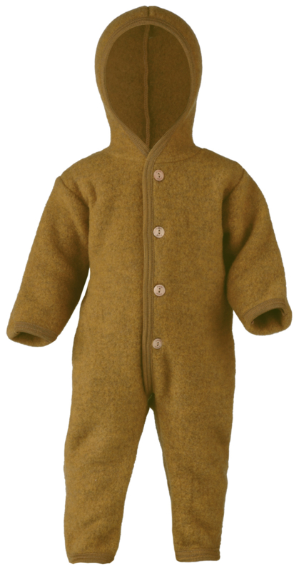 Engel hooded overall with wooden buttons safran melange