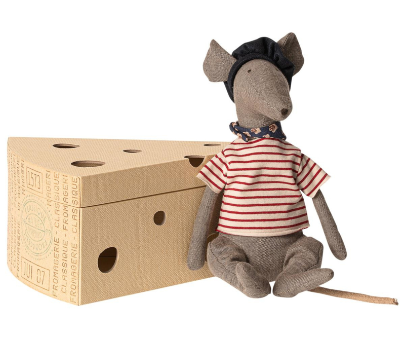 Maileg Rat in Cheese Box Grey
