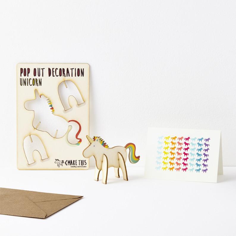 3D houten wenskaart Unicorn