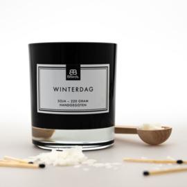 Geurkaars Winterdag in zwart glas