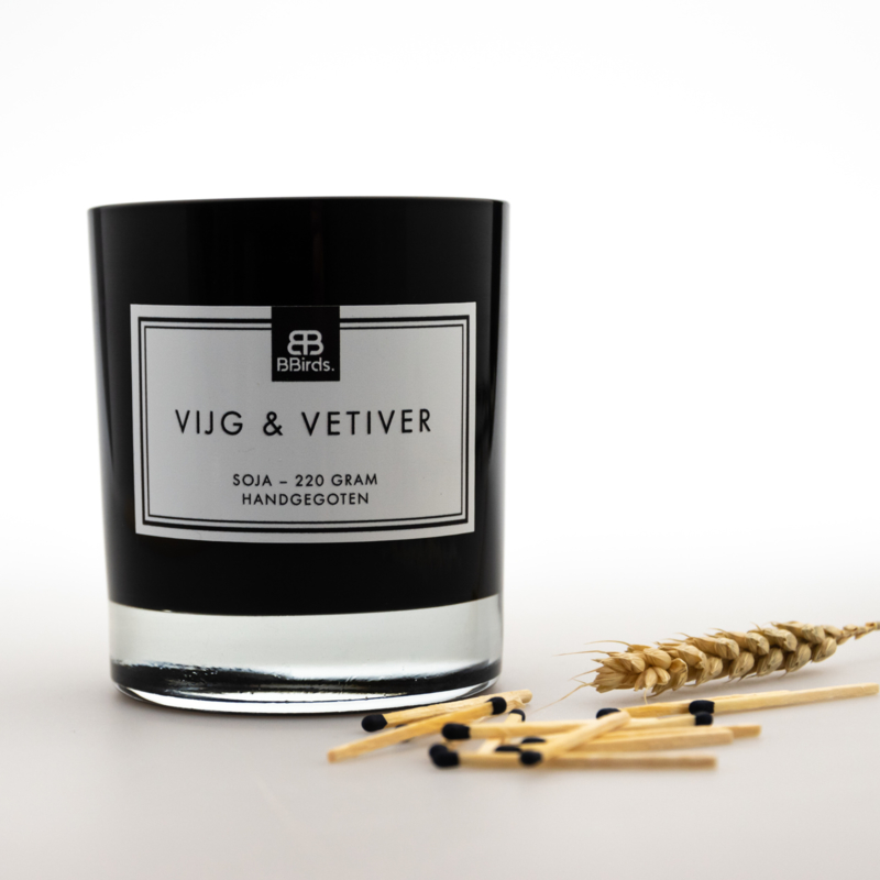 Geurkaars Vijg & Vetiver in zwart glas