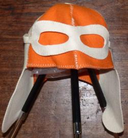 Saunahat Pilot Oranje met witte bril