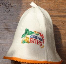 Saunahat Good Bath met oranje rand