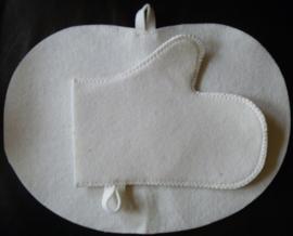 Giftbox saunamuts met zitmat en handschoen