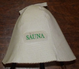 Saunahat Sauna met groene tekst.