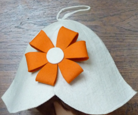 Saunahat flower orange