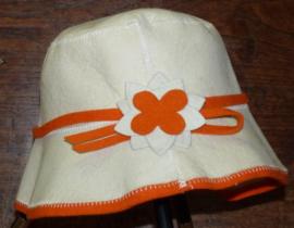 Saunahat Ladies wit met oranje band