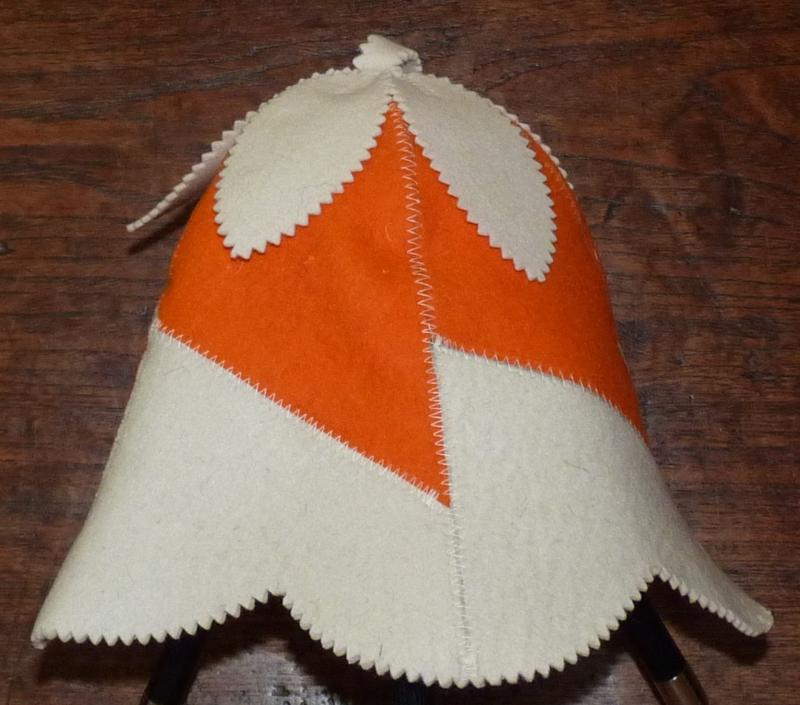 Saunahat handbell Oranje/wit