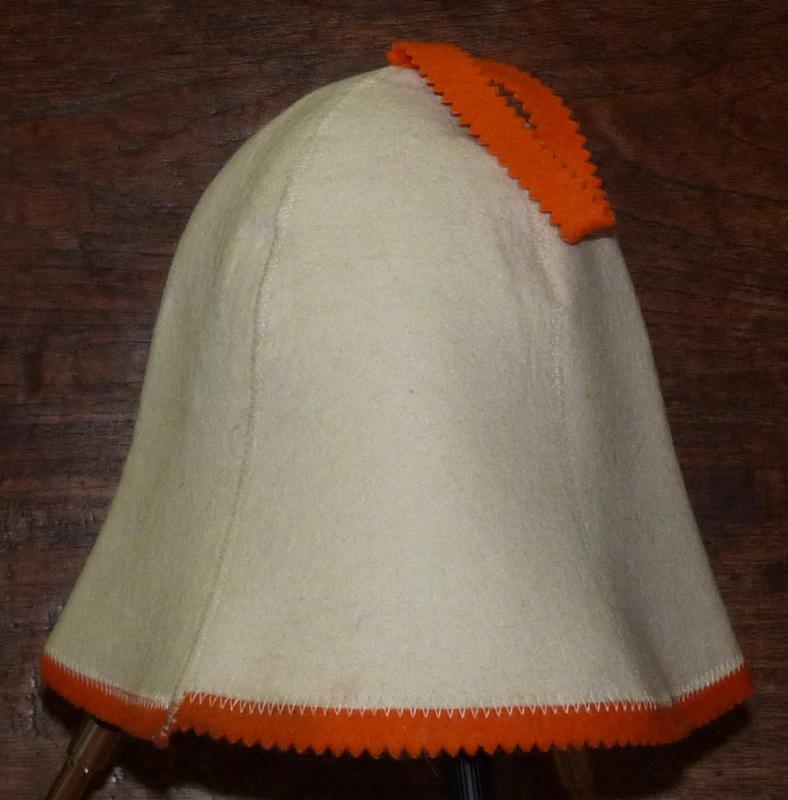 Saunahat Blanco met oranje rand