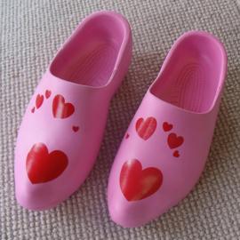 Kunststof klomp EVA PU Roze met hartjes